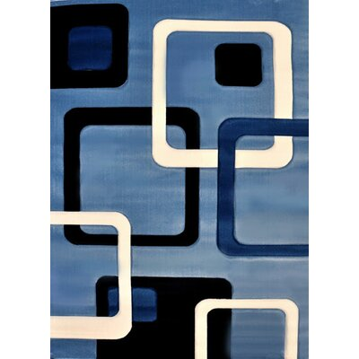 Jesvin Light Blue/Black Area Rug Rug Size: 711 x 910