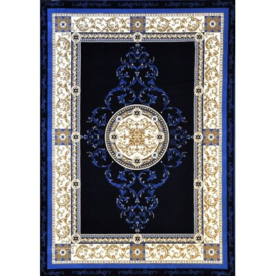 Potterville Dark Blue Area Rug Rug Size: 53 x 72