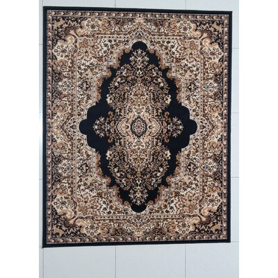 Porcher Black Area Rug Rug Size: 53 x 72