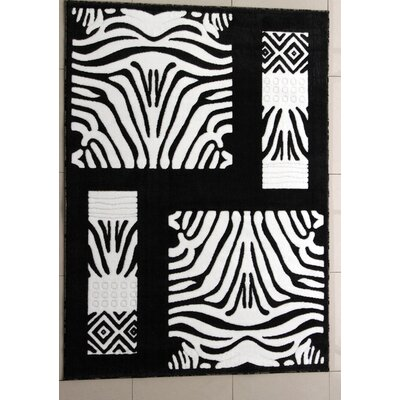 New Meadows Black Area Rug Rug Size: 53 x 72