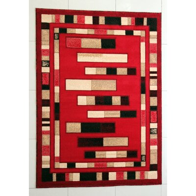 Slowe Red Area Rug Rug Size: 53 x 72