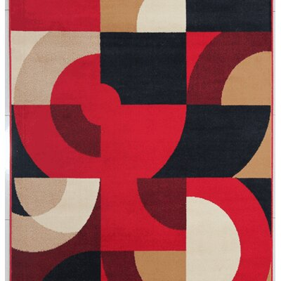 Euan Red Area Rug Rug Size: 53 x 72