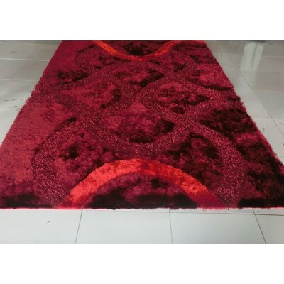 Reshmi Stain Resistant Burgundy Area Rug Rug Size: 53 x 72