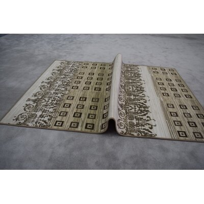 Quinney Wool Ivory/Brown Area Rug Rug Size: Rectangle 53 x 72