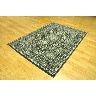Zoelle Traditional Stain Resistant Gray/Black Oriental Area Rug Rug Size: Runner 27 x 91
