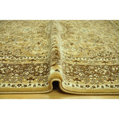 Harloe Traditional Yellow/Brown Area Rug Rug Size: 53 x 72