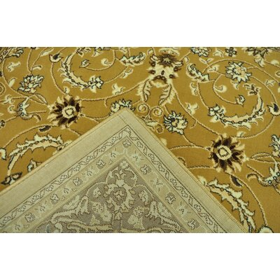 Cybil Traditional Yellow/Brown Area Rug Rug Size: 711 x 910