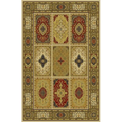 Geddes Ivory/Red Area Rug Rug Size: 53 x 72