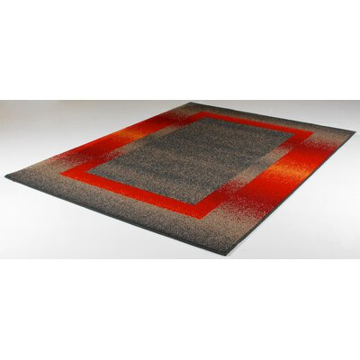 Mcginn Modern Stain Resistant Gray/Red Area Rug