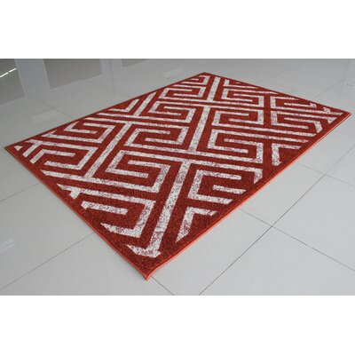 Mccollough Terracotta/White Area Rug Rug Size: 3 x 5