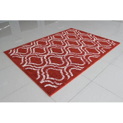 Rosenthal Contemporary Burgundy/White Area Rug Rug Size: 4 x 6