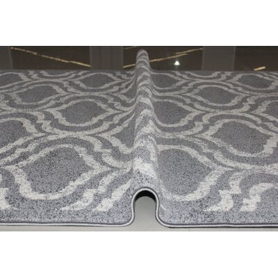 Rosenberry Gray/White Area Rug Rug Size: 53 x 72