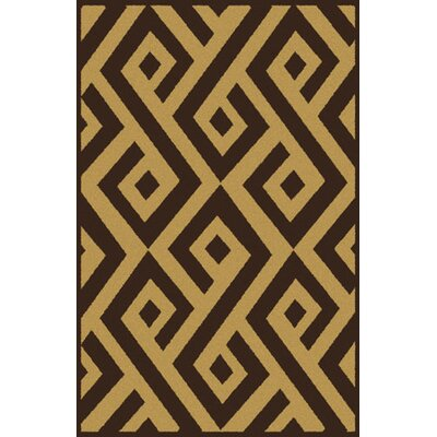 Rishel Dark Brown Area Rug Rug Size: 53 x 72