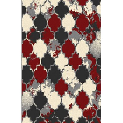 Carrolltown Red/Gray Area Rug Rug Size: 711 x 910