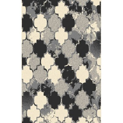 Carron Gray/Black Area Rug Rug Size: 711 x 910