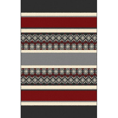 Pascal Red/Gray Area Rug Rug Size: 53 x 72