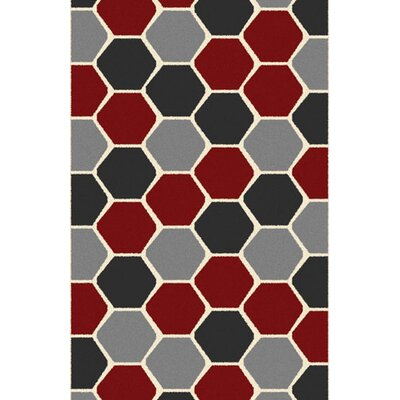 Borasisi Gray/Red Area Rug Rug Size: 53 x 72