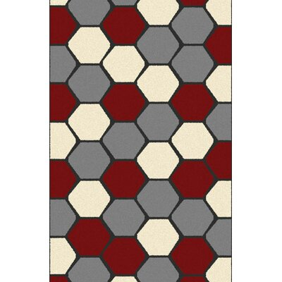 Borba Modern Red Area Rug Rug Size: 53 x 72