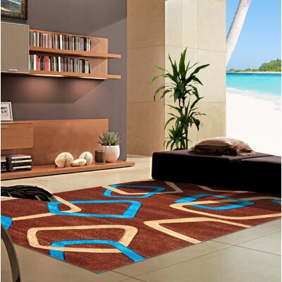 Melfa Modern Blue/Brown Area Rug Rug Size: Runner 27 x 72