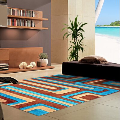 Melfa Contemporary  Abstract Brown/Blue Area Rug Rug Size: Runner 27 x 72