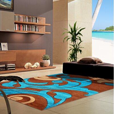 Morven Blue/Brown Abstract Area Rug Rug Size: Runner 27 x 146