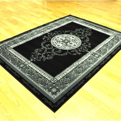 Engleman Black/Gray Area Rug Rug Size: Runner 27 x 91