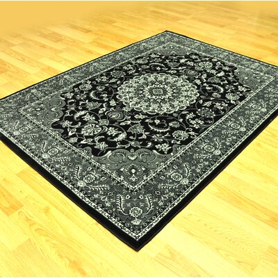 Zoel Traditional Black/Gray Area Rug Rug Size: 711 x 910