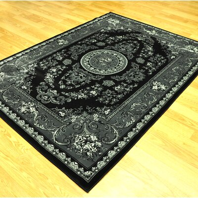 Zoel Black/Gray Oriental Area Rug Rug Size: Rectangle 53 x 72