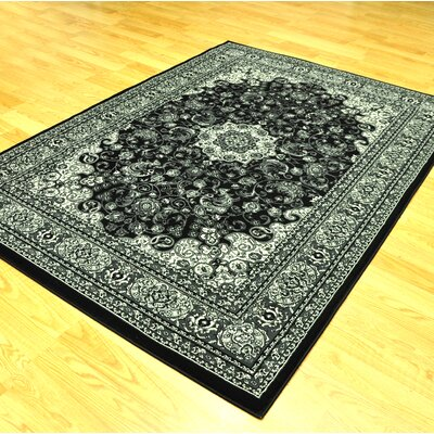 Zoel Traditional Black/Gray Oriental Area Rug Rug Size: 711 x 910