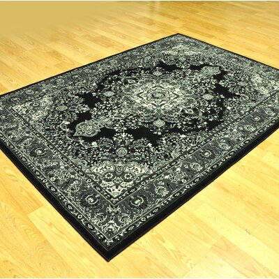 Zoel Traditional Stain Resistant Black/Gray Area Rug Rug Size: 53 x 72