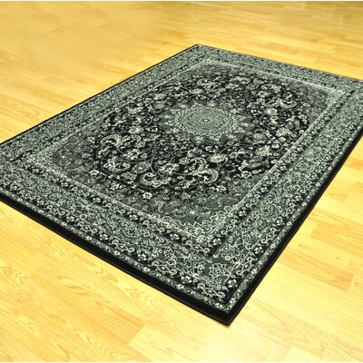 Zoel Traditional Stain Resistant Black/Gray Oriental Area Rug Rug Size: 711 x 910