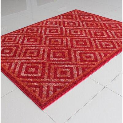 Rosenbloom Red Area Rug Rug Size: 53 x 72
