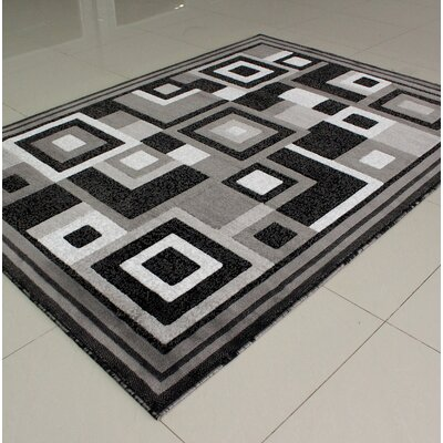Mcginn Contemporary Gray/Black Area Rug Rug Size: 3 x 5