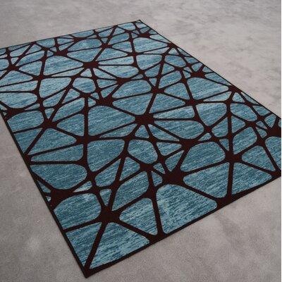 Midkiff Modern Blue/Black Area Rug Rug Size: Runner 27 x 146