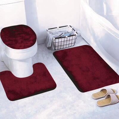 Churchton Solid 3 Piece Bath Rug Set Color: Burgundy