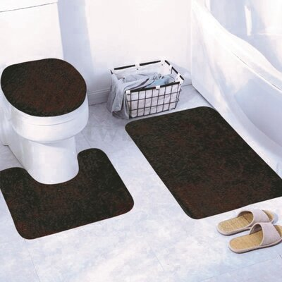 Churchton Solid 3 Piece Bath Rug Set Color: Coffee