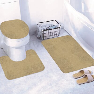 Churchton Solid 3 Piece Bath Rug Set Color: Taupe
