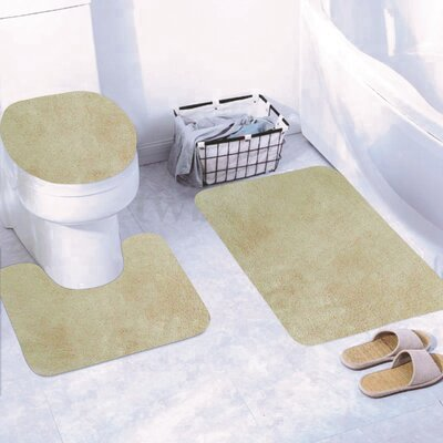 Churchton Solid 3 Piece Bath Rug Set Color: Beige