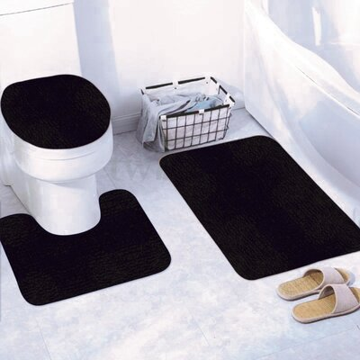 Churchton Solid 3 Piece Bath Rug Set Color: Navy