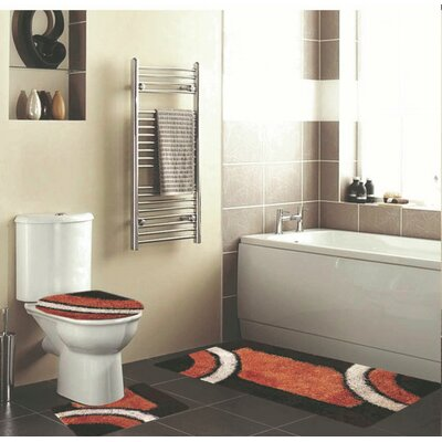 Hollen 3 Piece Bath Rug Set Color: Brown