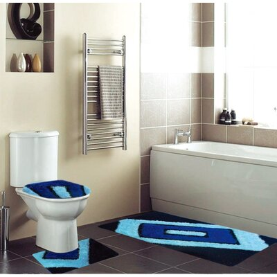 Eirenne 3 Piece Bath Rug Set Color: Blue