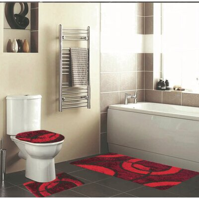 Holliman 3 Piece Bath Rug Set