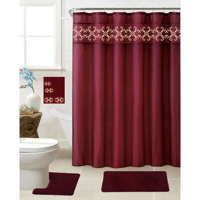 Vazquez 18 Piece Shower Curtain Set Color: Burgundy