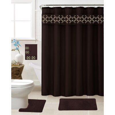 Vazquez 18 Piece Shower Curtain Set Color: Coffee
