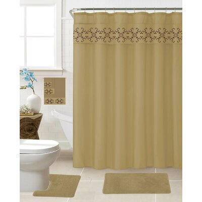 Vazquez 18 Piece Shower Curtain Set Color: Taupe