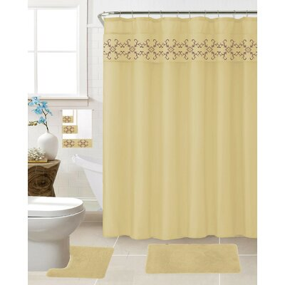 Vazquez 18 Piece Shower Curtain Set Color: Beige