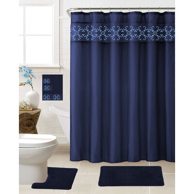 Vazquez 18 Piece Shower Curtain Set Color: Navy Blue