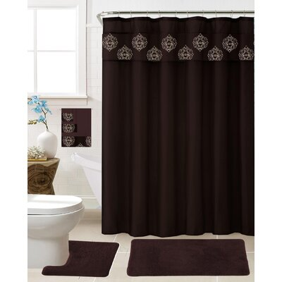 Veach 18 Piece Shower Curtain Set Color: Coffee
