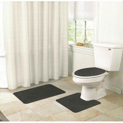 Veasley Shaggy 3 Piece Bath Rug Set Color: Black