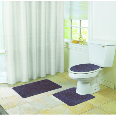 Veasley Shaggy 3 Piece Bath Rug Set Color: Navy Blue